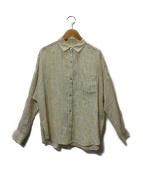 ROPE mademoiselle(ロペマドモアゼル)の古着「リトアニアリネンオーバーシャツ」|イエロー×ライトブルー