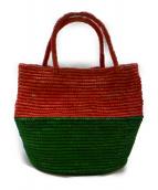 ARTESANO(アルテサーノ)の古着「BAHIAバイカラーバスケットバッグ」 ピンク×グリーン
