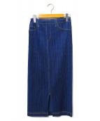 PLEATS PLEASE(プリーツ プリーズ)の古着「デニム転写プリーツスカート」|インディゴ