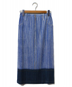 PLEATS PLEASE(プリーツ プリーズ)の古着「転写プリントプリーツスカート」|インディゴ