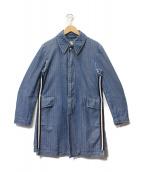 robe de chambre COMME des GARCONS(ローブドシャンブル コムデギャルソン)の古着「サイドテープデニムヘリンボンステンカラーコート」 ライトインディゴ
