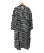 ROPE(ロペ)の古着「フレンチリネンシャツワンピース」|アイボリー×ブラック