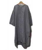 ARGUE(アギュー)の古着「ノーカラーシャツワンピース」|グレー