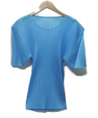 PLEATS PLEASE(プリーツプリーズ)の古着「プリーツカットソー」|ブルー