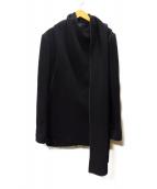 YOHJI YAMAMOTO(ヨウジヤマモト)の古着「パイピングストールウールコート」|ブラック