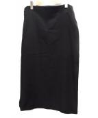 YOHJI YAMAMOTO(ヨウジヤマモト)の古着「ラウンドスリットウールスカート」|ブラック