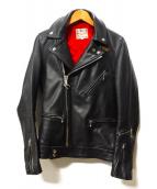 Lewis Leathers(ルイスレザーズ)の古着「ホースハイドレザーライダースジャケット」|ブラック