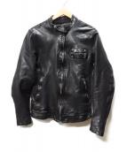 ISAMU KATAYAMA BACKLASH(イサムカタヤマバックラッシュ)の古着「ドイツカーフシングルライダースジャケット」|ブラック
