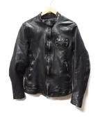 ISAMU KATAYAMA BACKLASH()の古着「ドイツカーフシングルライダースジャケット」|ブラック