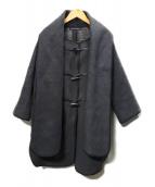 LONDON Tradition(ロンドントラディション)の古着「ストール付きノーカラーコート」|グレー