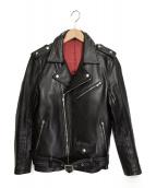 NO ID.(ノーアイディー)の古着「カウレザーワンスターWライダースジャケット」|ブラック