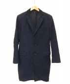 COMME des GARCONS HOMME(コムデギャルソンオム)の古着「ポリ製品染めチェスターコート」 ブルー