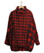 Y. PROJECT(ワイプロジェクト)の古着「レイヤードチェックシャツ」|レッド