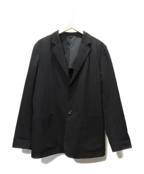 MARGARET HOWELL(マーガレットハウエル)MARGARET HOWELL (マーガレットハウエル) ストライプジャケット ブラック サイズ:SIZE L DRY FINISH PINSTRIPE WOOLの古着・服飾アイテム