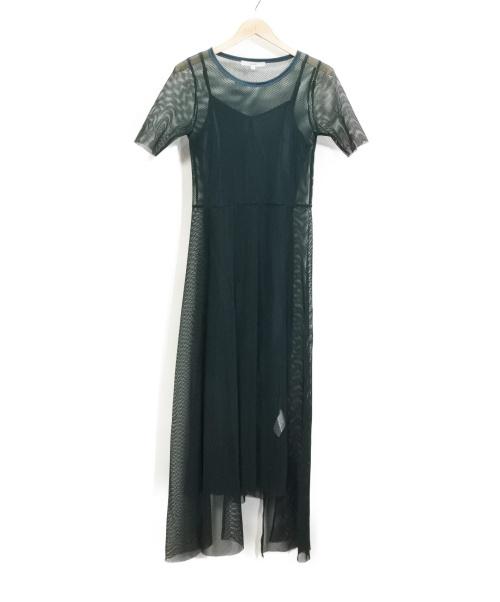 UN3D.(アンスリード)UN3D. (アンスリード) メッシュレイヤードワンピース グリーン サイズ:36 MESH ASYMME H/S OP 19SSの古着・服飾アイテム