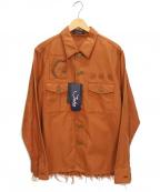 JohnUNDERCOVER(ジョンアンダーカバー)の古着「ネップミリタリーシャツ」|オレンジ