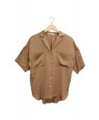 upper hights(アッパーハイツ)の古着「サテンオープンカラーシャツ」 ブラウン