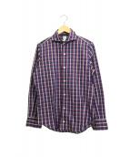 Finamore(フィナモレ)の古着「チェックワイドカラーシャツ」 パープル