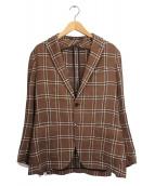 TAGLIATORE(タリアトーレ)の古着「リネンコットンテーラードジャケット」|ブラウン