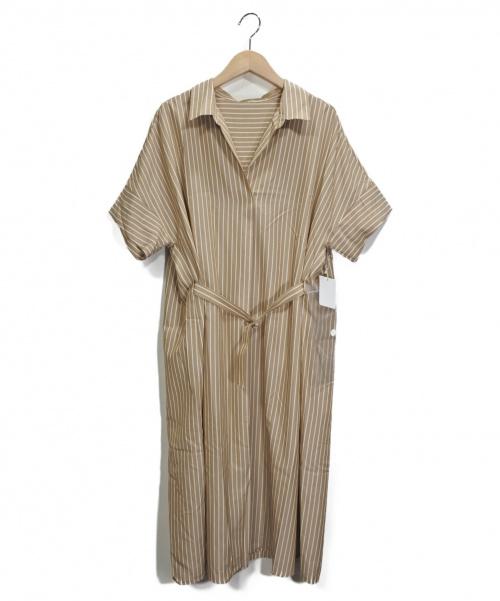 stola.(ストラ)stola. (ストラ) ストライプワンピース ホワイト×ベージュ サイズ:38の古着・服飾アイテム