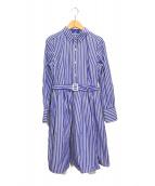 BLUE LABEL CRESTBRIDGE(ブルーレーベルクレストブリッジ)の古着「ストライプシャツワンピース」|ブルー