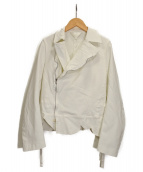 BLACK COMME des GARCONS(ブラックコムデギャルソン)の古着「ポリ縮絨ライダースジャケット」|ホワイト