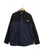 THE NORTH FACE(ザノースフェイス)の古着「L/S Nuptse Shirt」 ブラック×ブルー