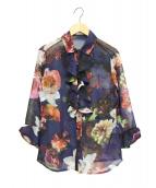 NARA CAMICIE(ナラカミーチェ)の古着「フラワープリント襟付ブラウス」|ネイビー
