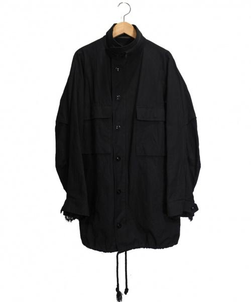 Ys(ワイズ)Ys (ワイズ) レーススリーブミリタリージャケット ブラック サイズ:2の古着・服飾アイテム