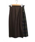 ONEIL OF DUBLIN(オニール オブ ダブリン)の古着「ラッププリーツスカート」|ブラウン