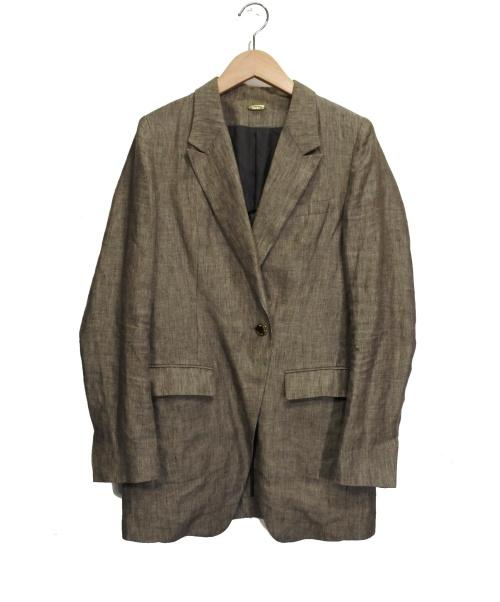 MUSE de Deuxieme Classe(ミューズドゥドゥーズィエム クラス)MUSE de Deuxieme Classe (ミューズドゥドゥーズィエム クラス) リネンジャケット グレー サイズ:38の古着・服飾アイテム