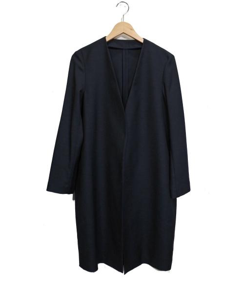 allureville(アルアバイル)allureville (アルアバイル) テンセルリネンVカラーコート ネイビー サイズ:2 未使用品の古着・服飾アイテム