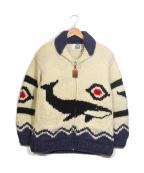 CANADIAN SWEATER(カナディアンセーター)の古着「カウチンジップニットカーディガン」|ブルー×ホワイト