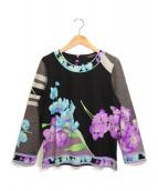 LEONARD(レオナール)の古着「ウール/シクル 花柄プルオーバー」|ブラック
