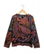 LEONARD(レオナール)の古着「ウール/シルク 花柄プルオーバー」|ブラック