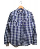 ()の古着「PALAKA CHECK WESTERN SHIRT」 ブルー