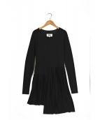 MM6 Maison Margiela(エムエムシックス メゾンマルジェラ)の古着「プリーツ切替ワンピース」|ブラック