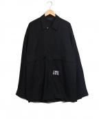 Essay(エッセイ)の古着「オーバーサイズオープンカラーシャツ」 ブラック
