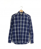 giannetto(ジャンネット)の古着「インディゴチェックワイドカラーシャツ」|ブルー