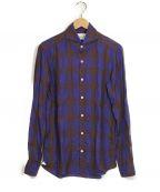 giannetto(ジャンネット)の古着「リネンホリゾンタルカラーシャツ」|パープル