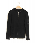 DIESEL(ディーゼル)の古着「ワッフルジップパーカー」|ブラック