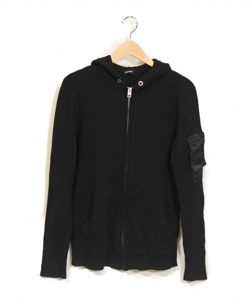 DIESEL(ディーゼル)DIESEL (ディーゼル) ワッフルジップパーカー ブラック サイズ:Sの古着・服飾アイテム