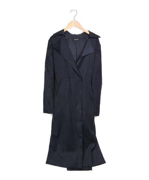 LAUTRE AMONT(ロートレアモン)LAUTRE AMONT (ロートレアモン) ストレッチフェイクスエードラップコート ネイビー サイズ:38の古着・服飾アイテム