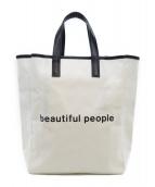 beautiful people(ビューティフルピープル)の古着「キャンバスハンドバッグ」|ホワイト