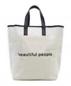 beautiful people()の古着「キャンバスハンドバッグ」|ホワイト