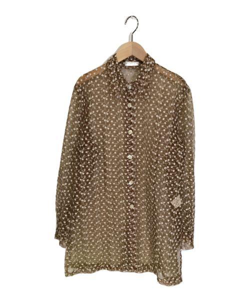 CARVEN(カルヴェン)CARVEN (カルヴェン) シアー刺繍シャツ ブラウン サイズ:9号の古着・服飾アイテム