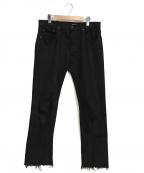 OLD PARK(オールドパーク)の古着「リーバイスカスタムリメイクスリットデニムパンツ」|ブラック