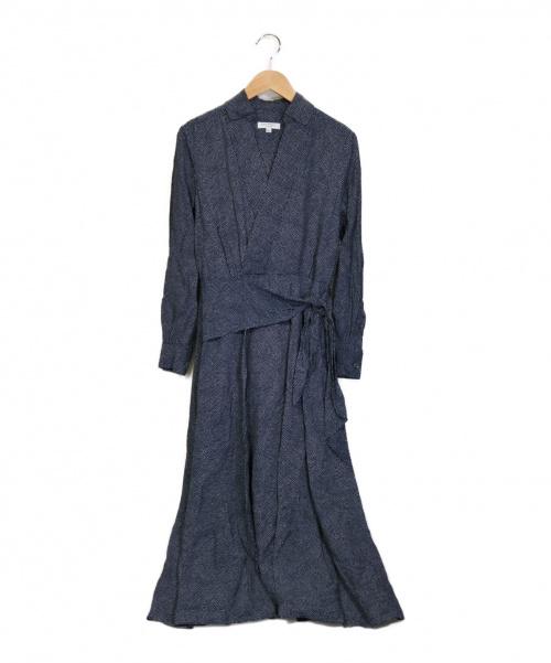 equipment femme(エキプモン フェメ)equipment femme (エキプモン フェメ) Vivienne Faux Wrap Midi Dress  ネイビー サイズ:M ワンピースの古着・服飾アイテム