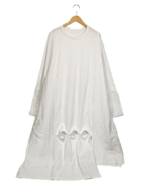 GROUND Y(グランドワイ)GROUND Y (グランドワイ) スナップ スリット ロング カットソー ホワイト サイズ:3 未使用品の古着・服飾アイテム