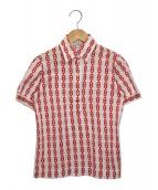 CELINE(セリーヌ)の古着「[OLD]マガダムチェーン柄ポロシャツ」|ピンク